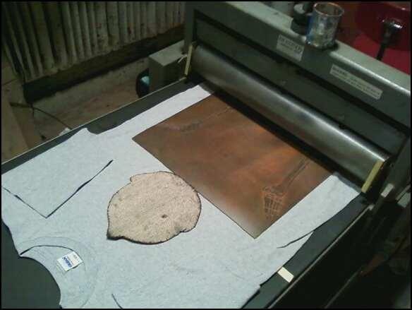 Step 1 of woodblock printing process
